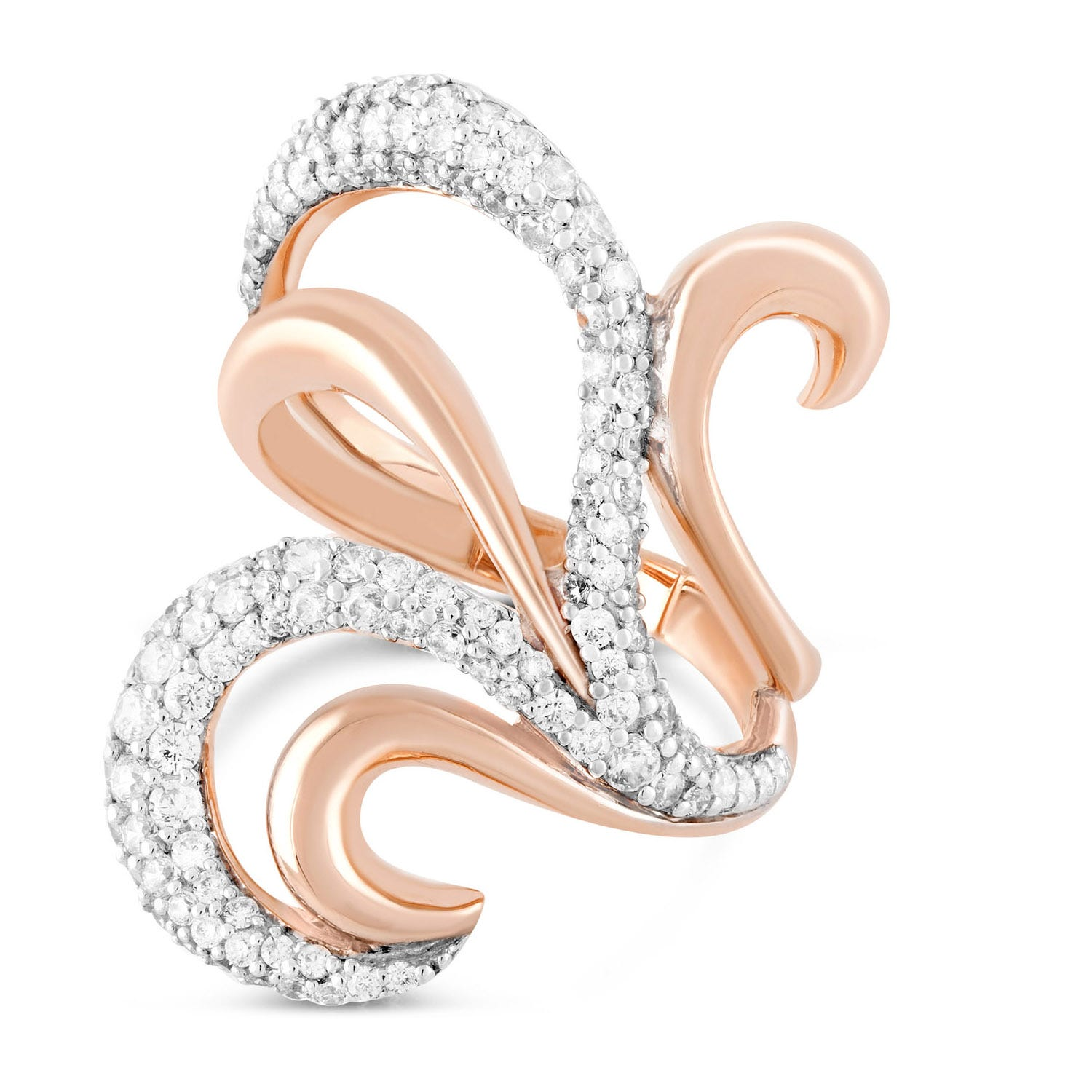 Rose Gold-Plated Cubic Zirconia Fancy Dress Ring
