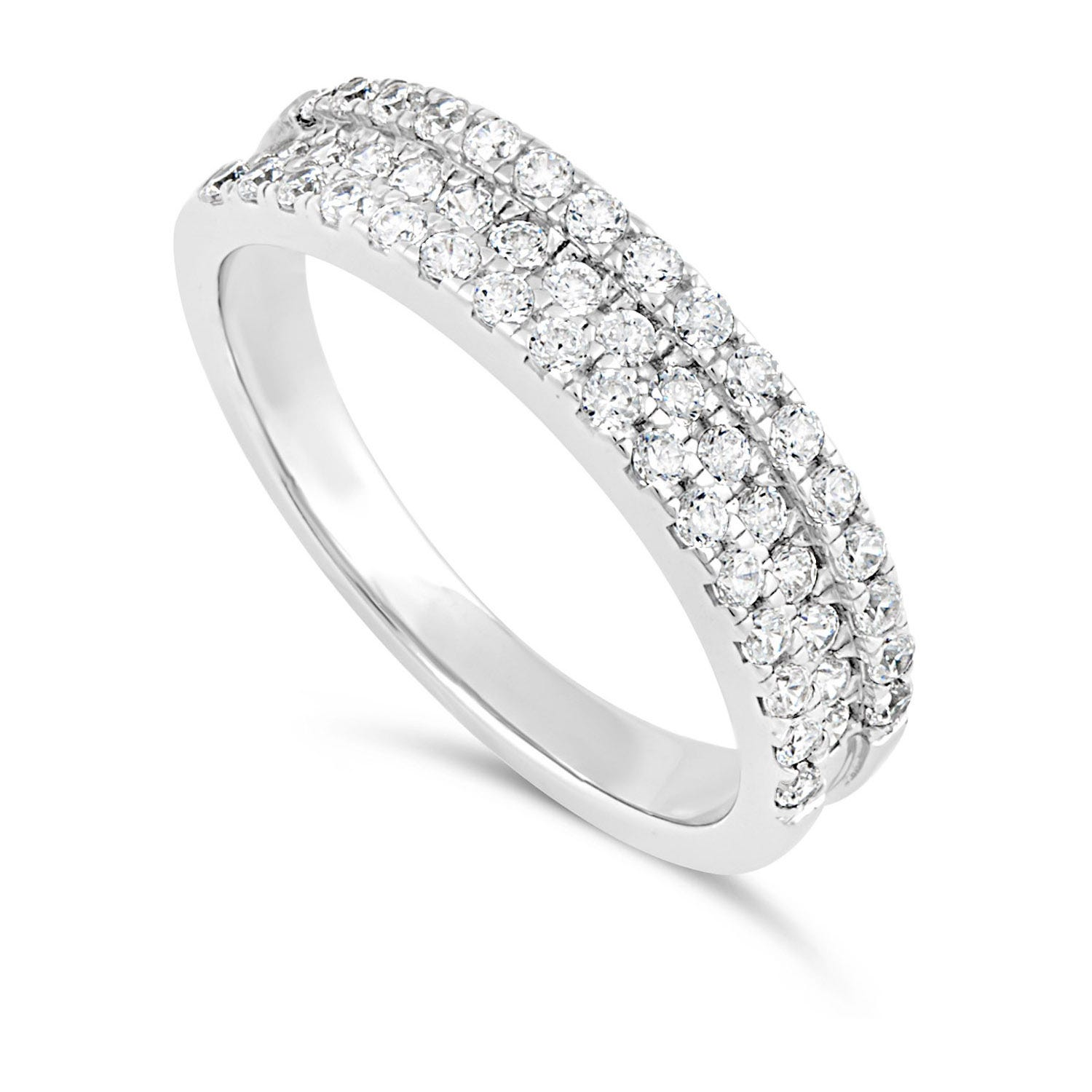 Sterling Silver Cubic Zirconia Three Row Ring