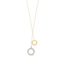 9ct Gold Plain and Glitter Circle Y Drop Necklace