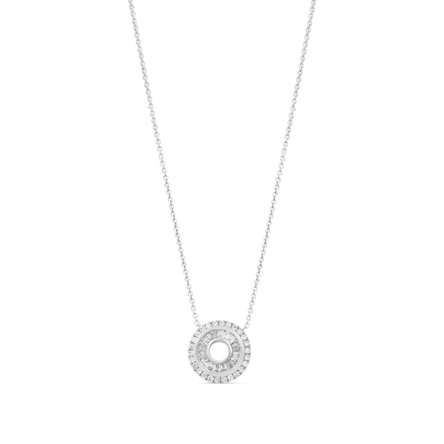 9ct White Gold Baguette and Round 0.37ct Diamond Open Circle Pendant