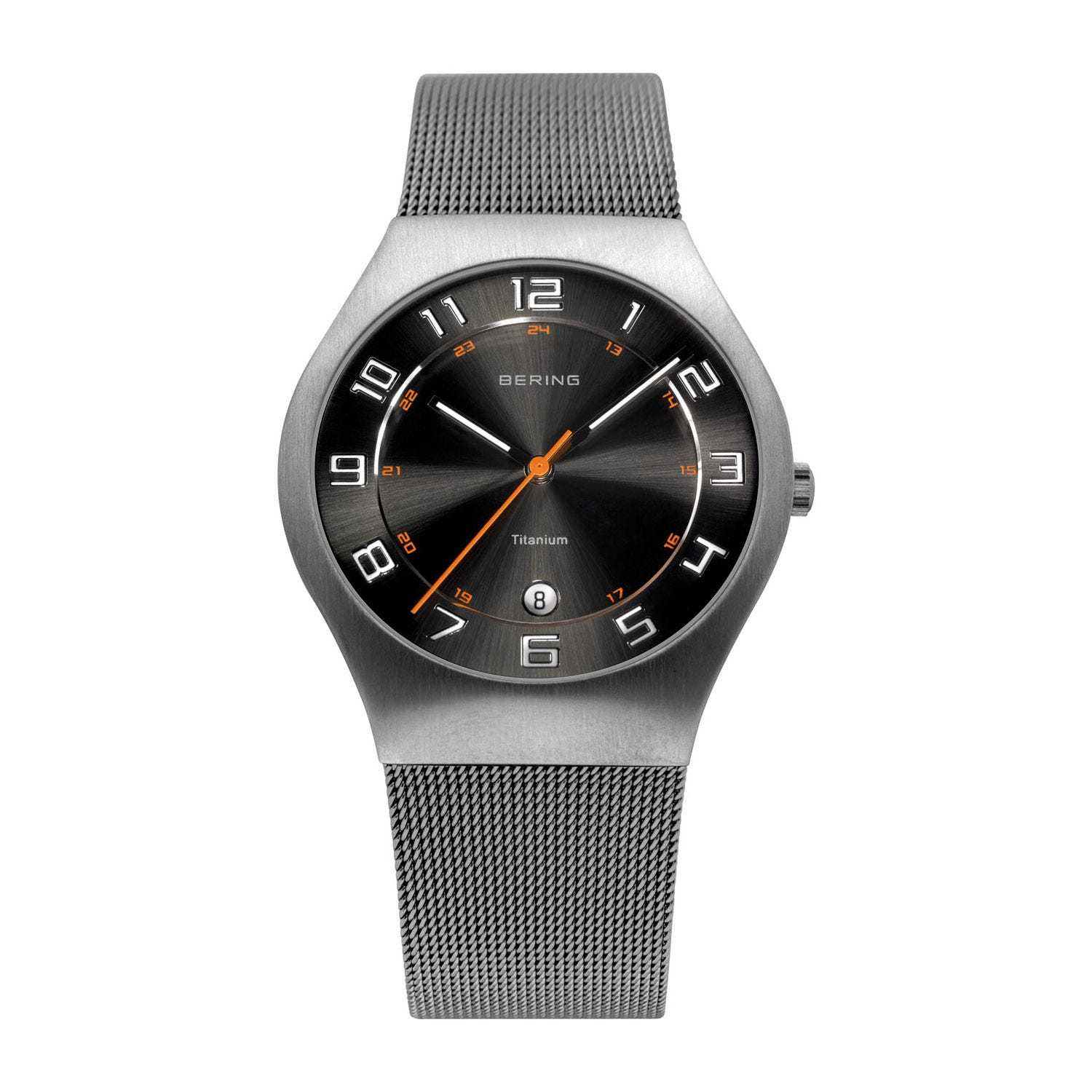 Bering Classic Men's 37mm Titanium Case and Grey Milanese Strap Watch