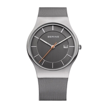 Bering Classic Men's 38mm Titanium Case and Grey Milanese Strap Watch