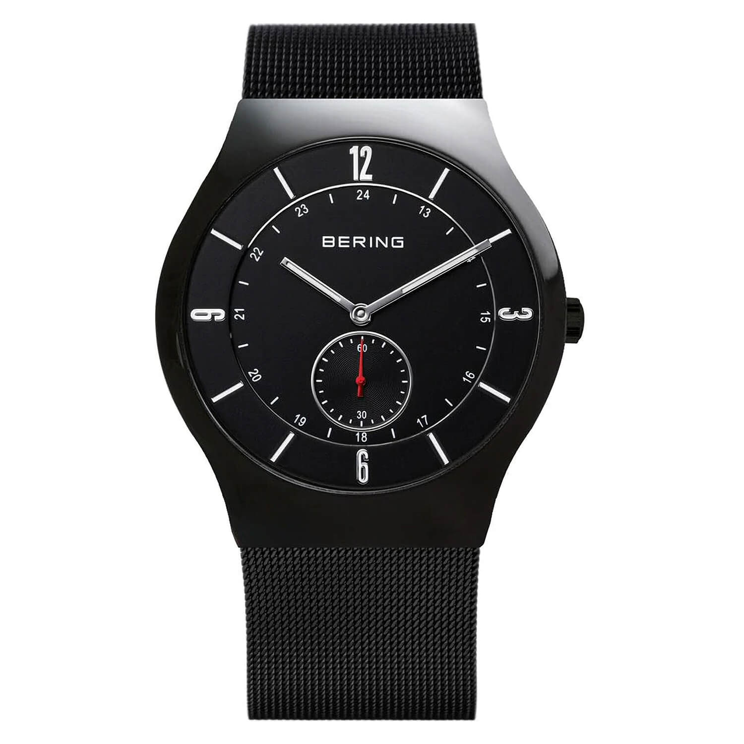 Bering Classic Men's 40mm Black Case and Milanese Strap Watch
