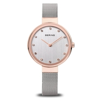 Bering Classic Ladies' Swarovski Crystal 34mm Rose Gold-tone Case and Stainless Steel Milanese Strap Watch