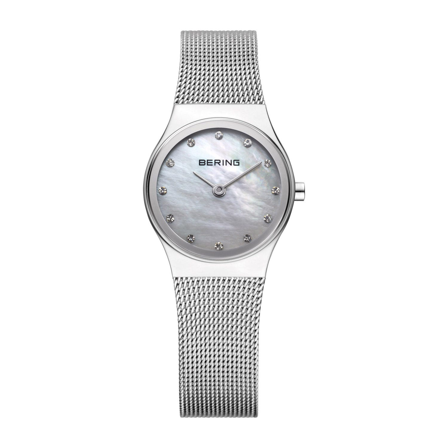 Bering Classic Ladies' Swarovski Crystal Mother of Pearl Dial Stainless Steel Milanese Strap 24mm Watch