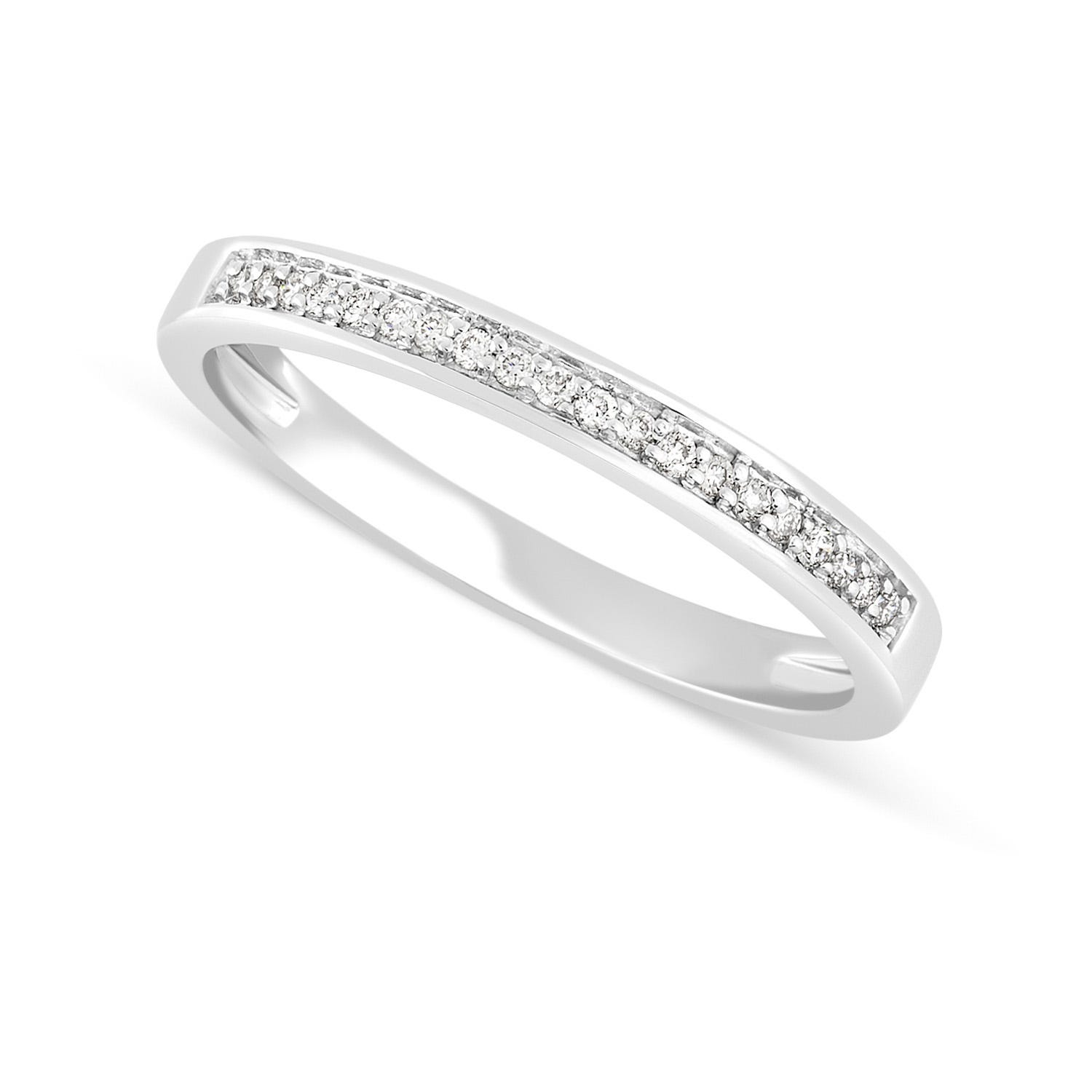 Mystere Ladies' 18ct White Gold Diamond 2.1mm Wedding Ring