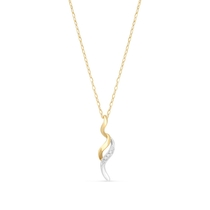 9ct Yellow Gold and White Gold Long S 0.01ct Diamond Pendant