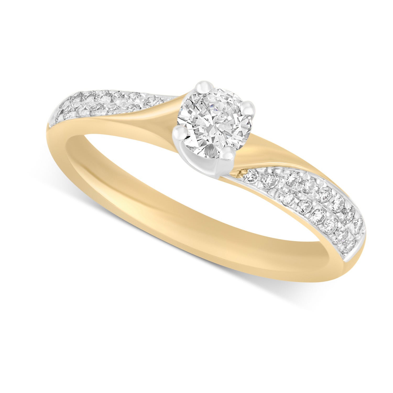 9ct Yellow Gold 0.4lct Diamond Solitaire Twist Ring