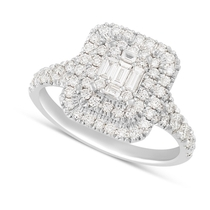 18ct White Gold 1.00 Carat Baguette and Round Brilliant Diamond Halo Cluster Ring