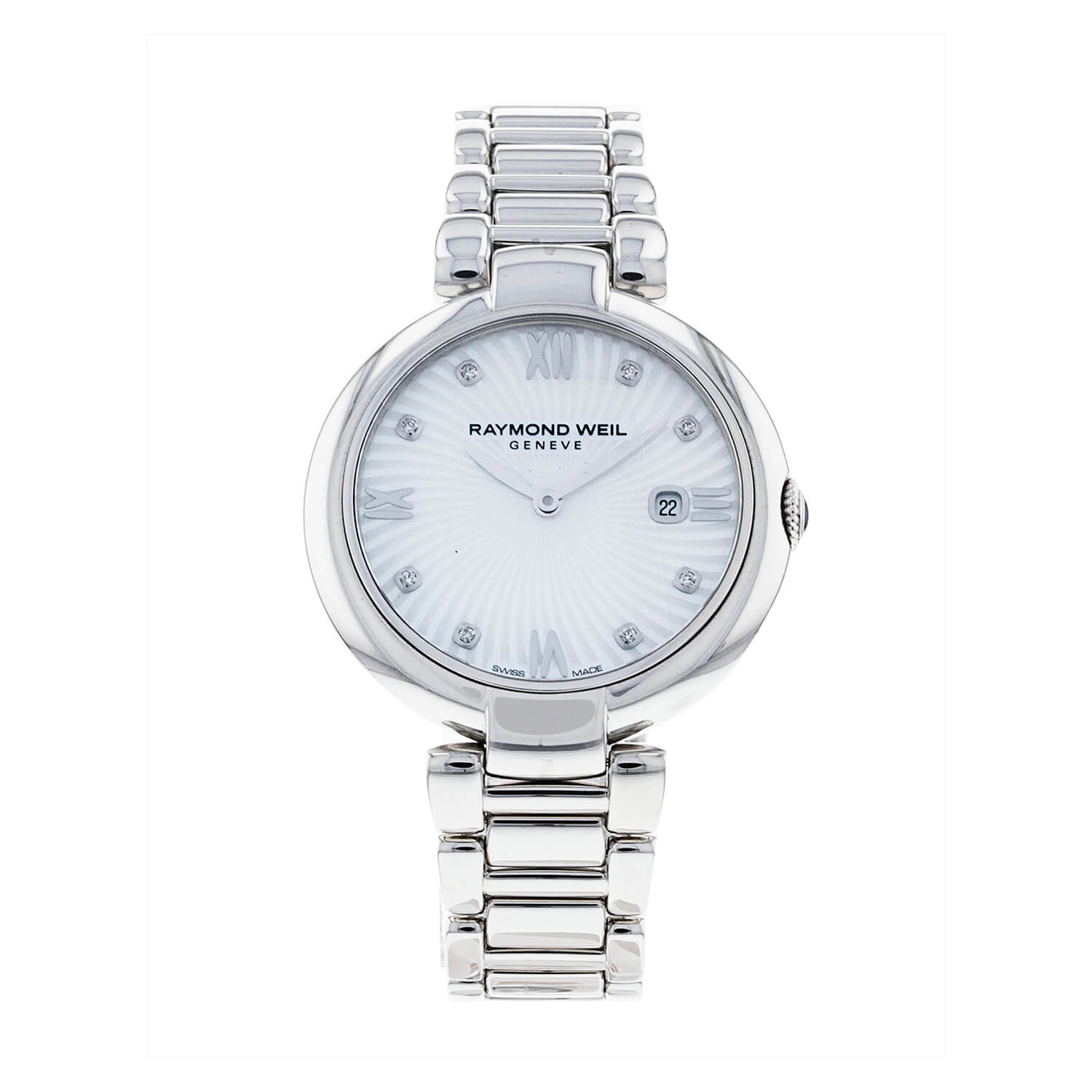Raymond Weil Shine Mother of Pearl Diamond Stainless Steel Bracelet Watch