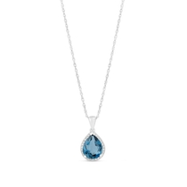 9ct White Gold Pear London Blue Topaz And 0.11 Carat Diamond Pendant