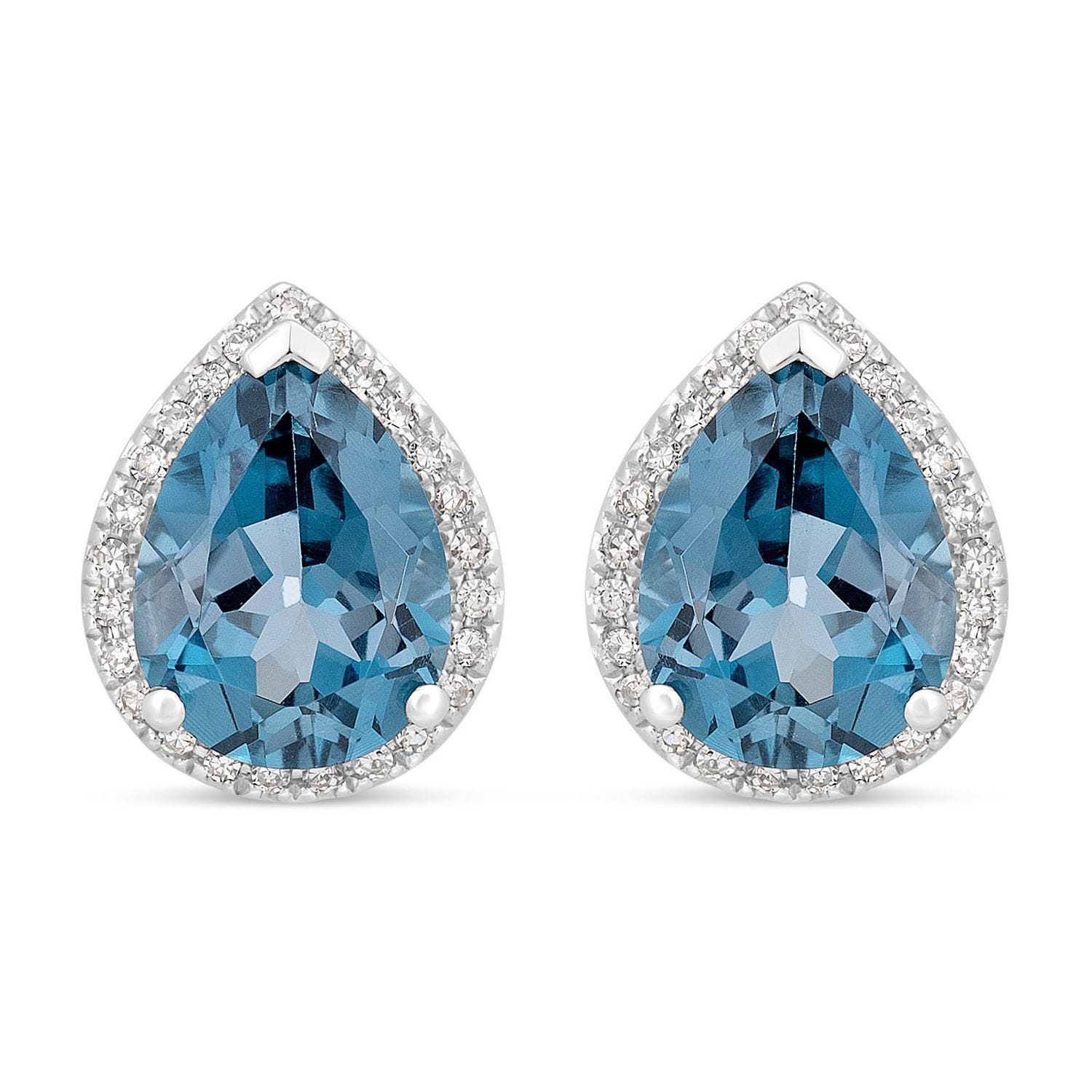 9ct White Gold Pear London Blue Topaz 0.20ct Diamond Surround Earrings