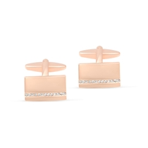 Rose Gold-plated Cubic Zirconia Cufflinks