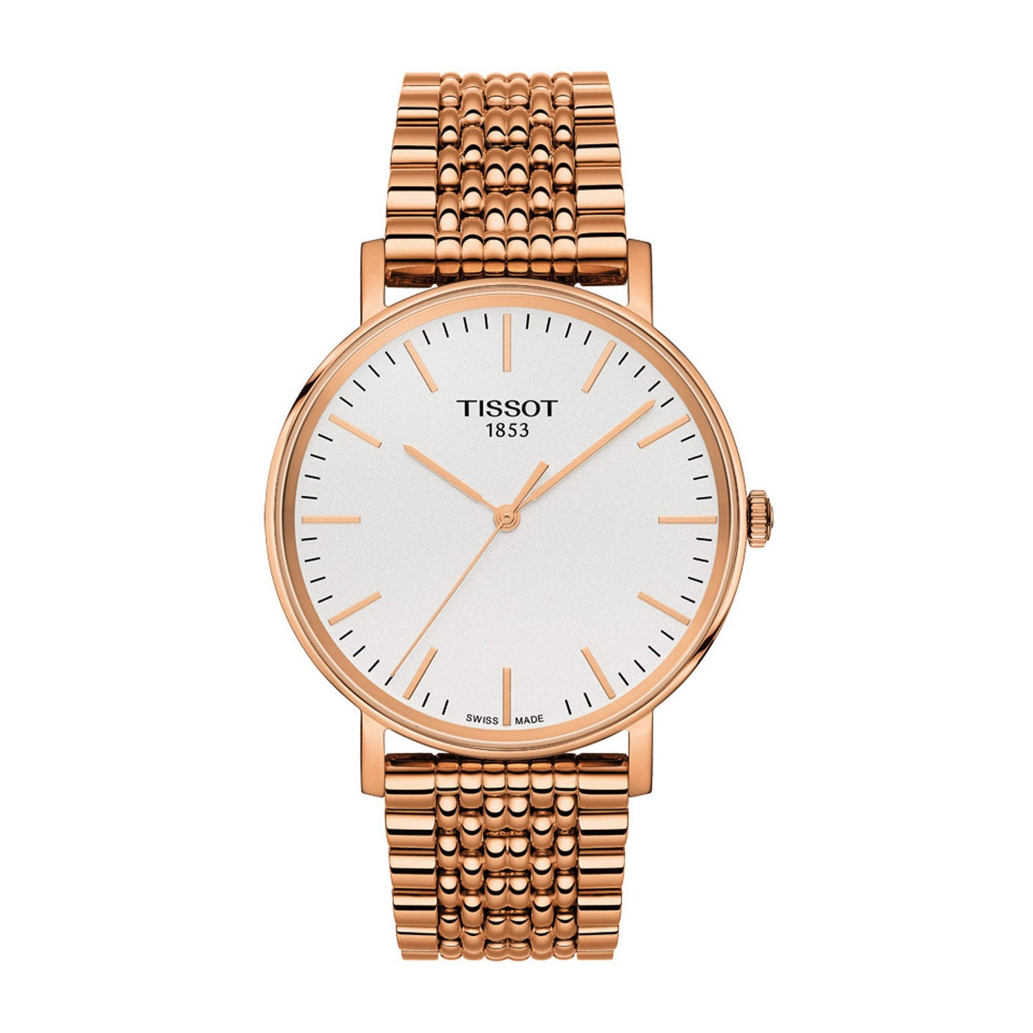 Tissot Everytime Men's White & Rose Dial Rose Gold Plated Bracelet watch