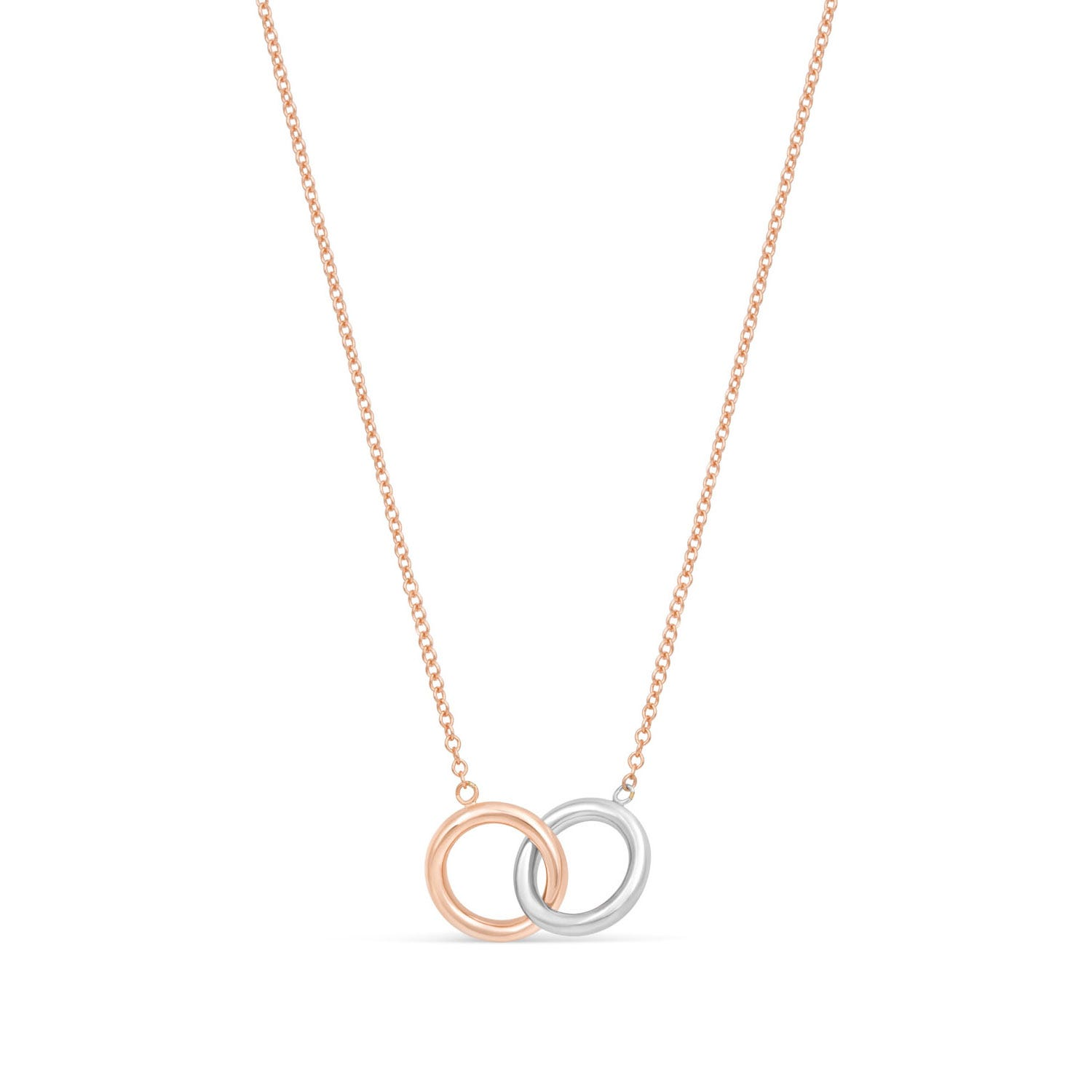 9ct Rose Gold & White Gold Double Circle Necklet
