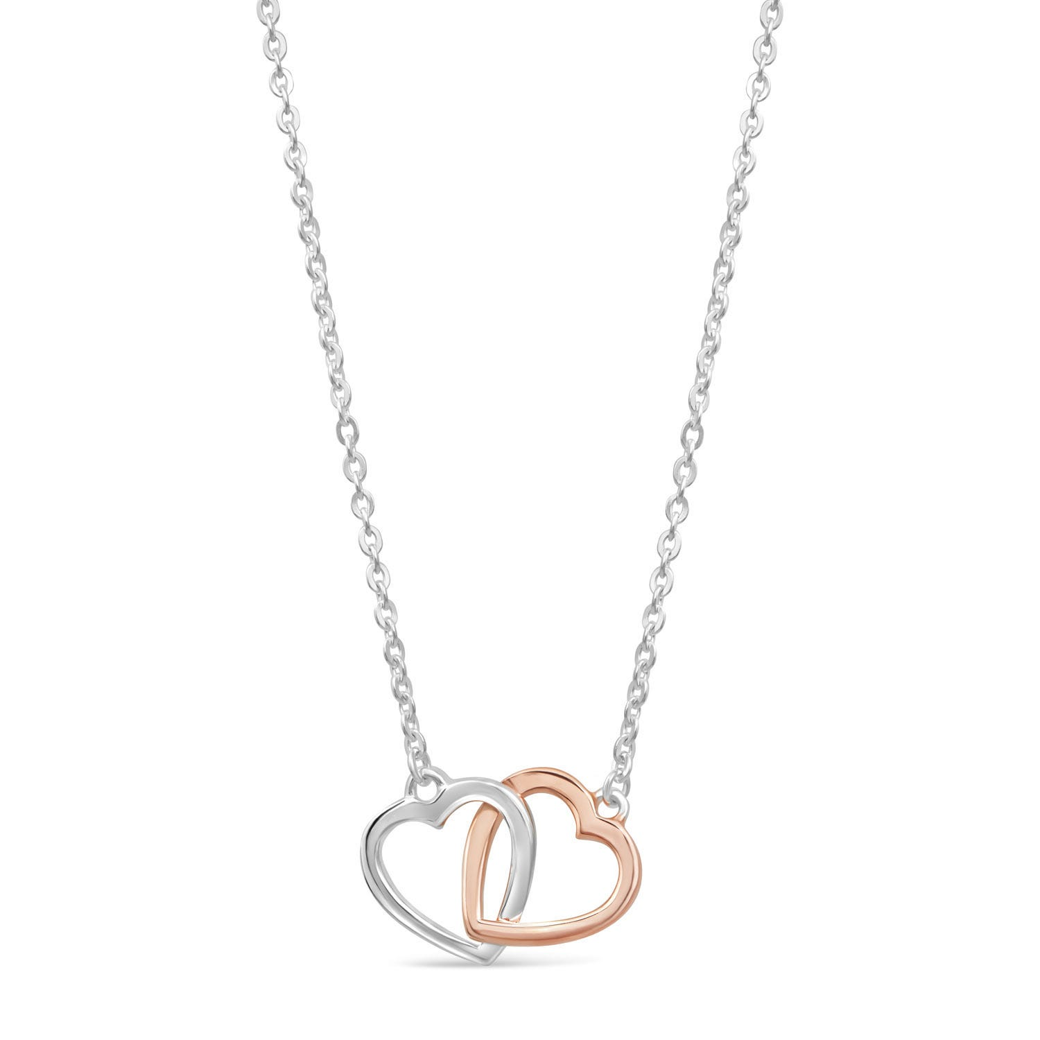 Silver and Rose Gold-Plated Interlocking Hearts Necklace
