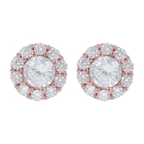 Bronzallure Altissima 18ct Rose Gold-plated Cubic Zirconia Halo Stud Earrings
