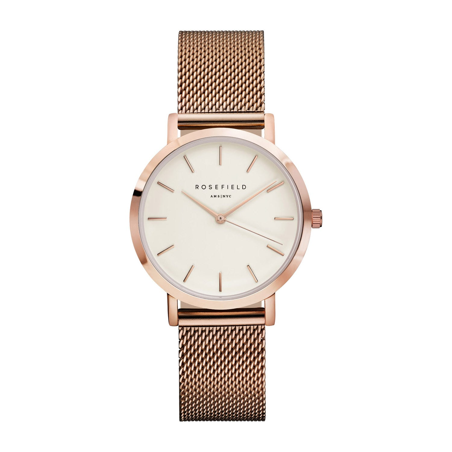 Rosefield THE TRIBECA White Rose Gold Mesh
