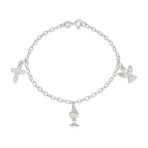 Sterling Silver and Zirconia Angel Chalice Cross Bracelet