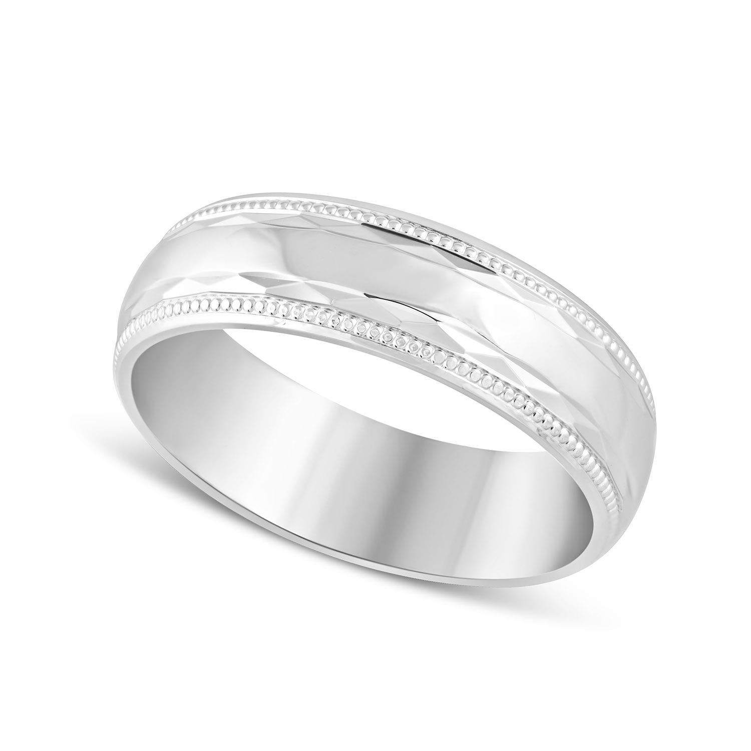 9ct White Gold Polished and diamond-cut with beaded edge 6mm Gents Wedding ring