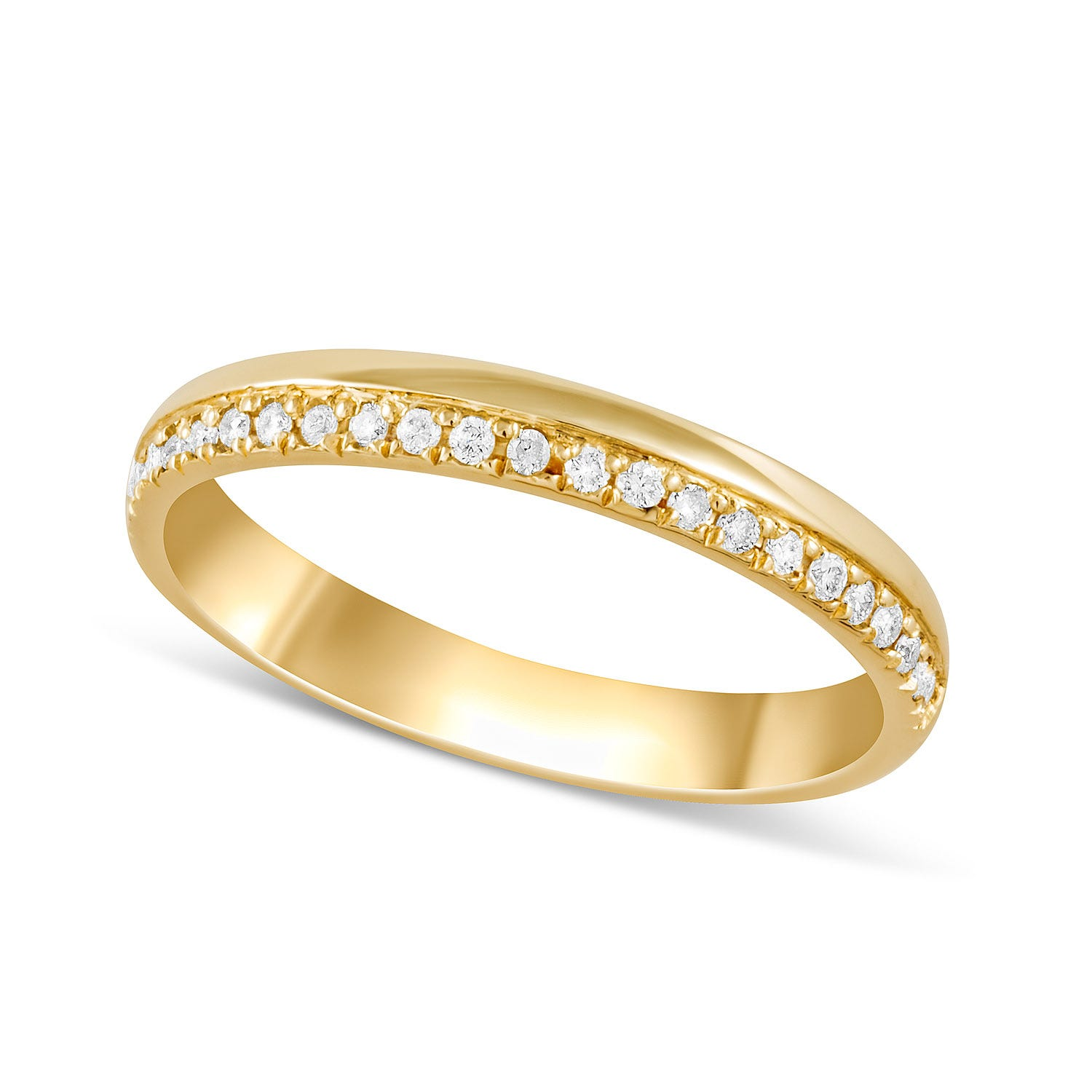 9ct Gold Diamond Set Edge Ladies Wedding Ring