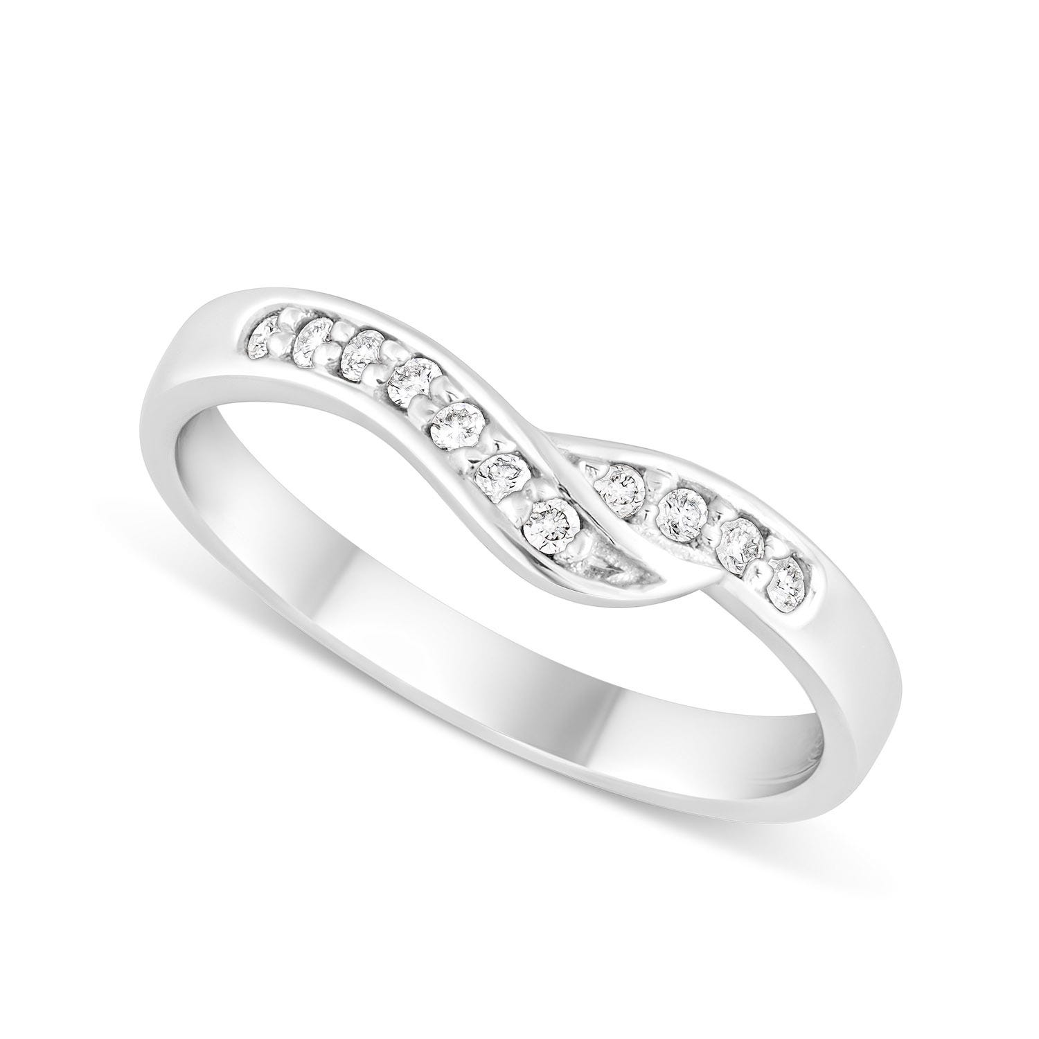 18ct White Gold Wave Shaped Diamond Wedding Ring