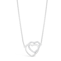 Ladies Sterling Silver Interlocking Heart Necklace