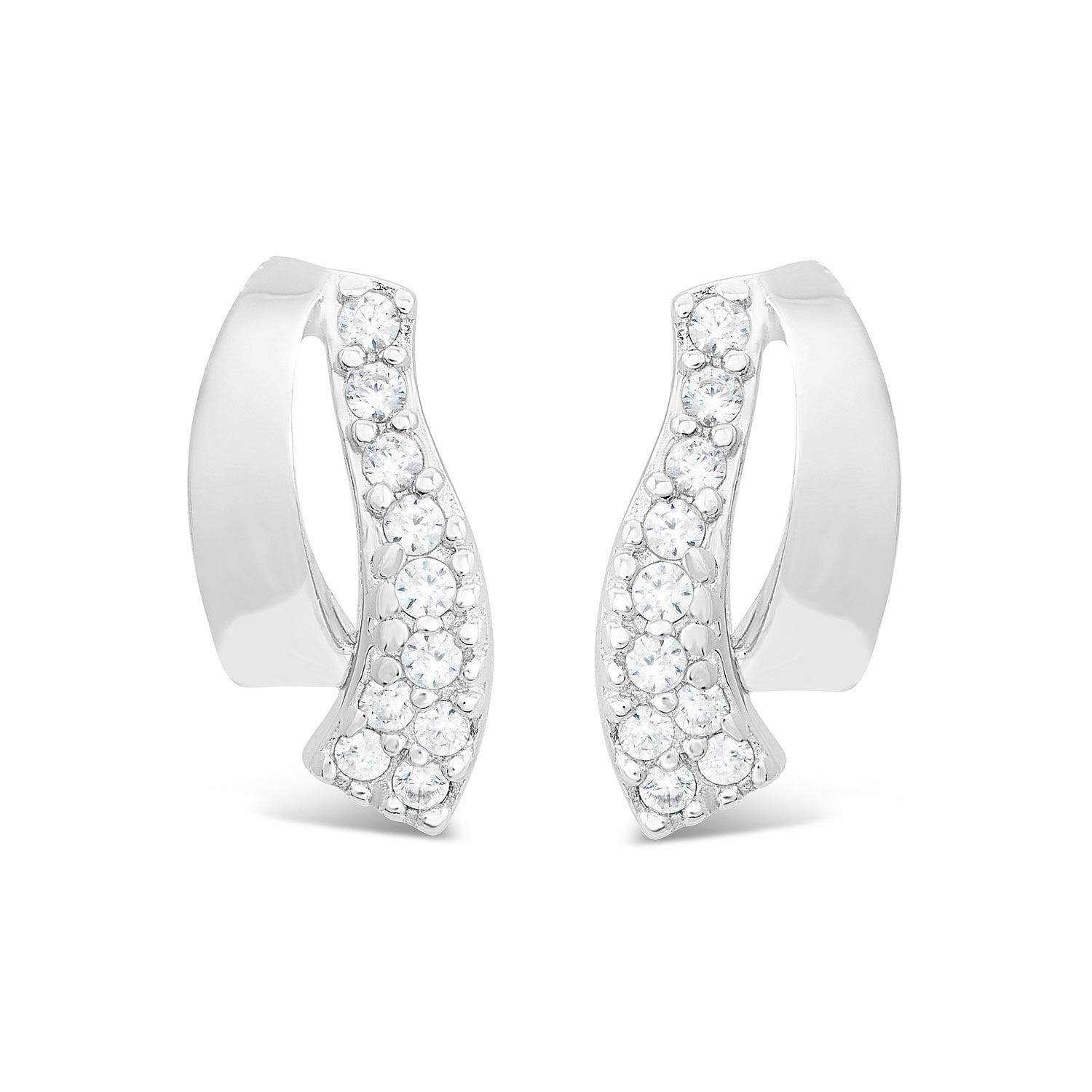 Sterling Silver Polish Open Loop And Pave Cubic Zirconia Tail Studs