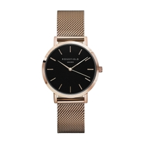 Rosefield THE TRIBECA Black Rose Gold Mesh