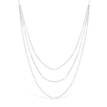 Ladies Sterling Silver Belcher Link Triple Strand Freshwater Pearl Necklace