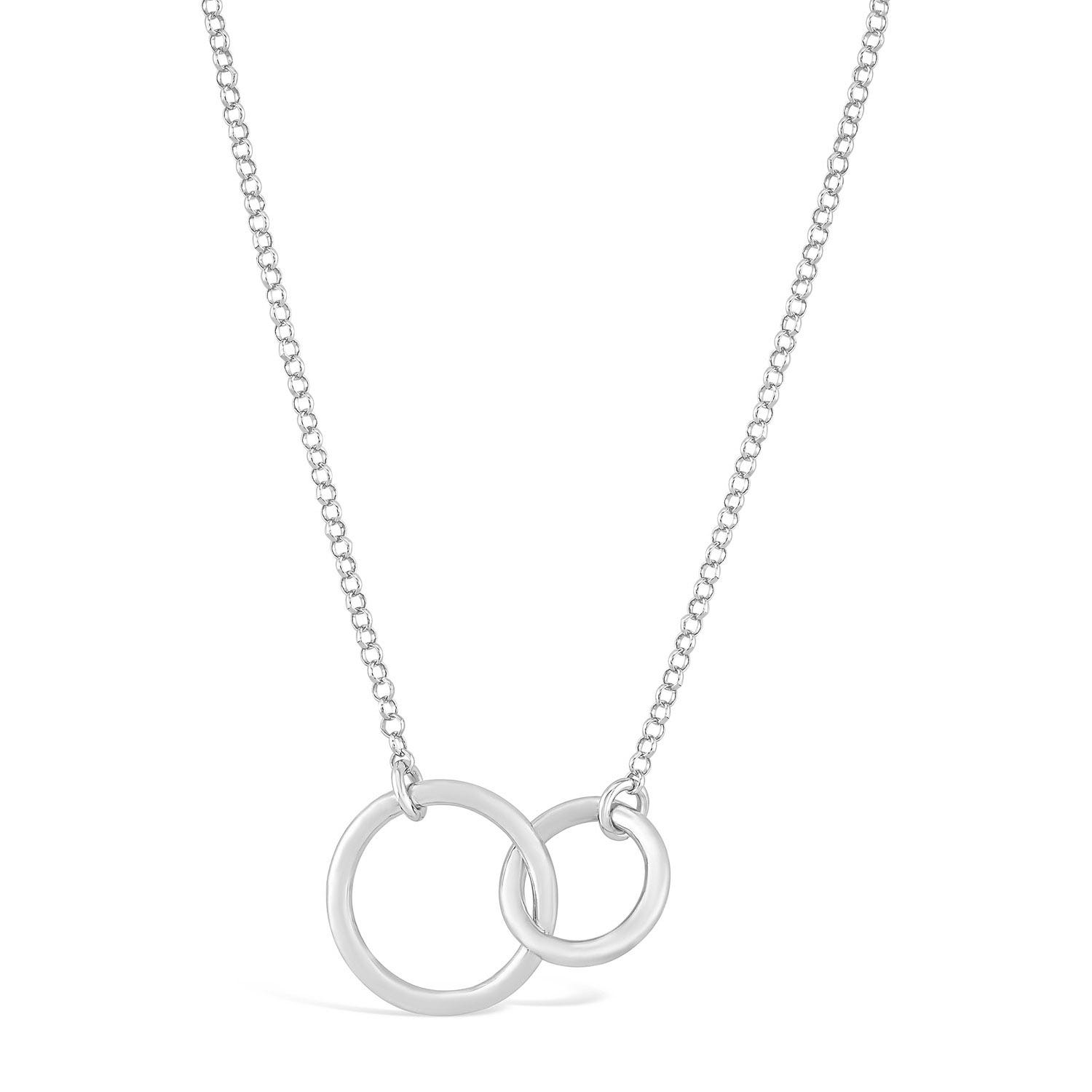 Ladies Double Interlocking Circle Sterling Silver Necklace