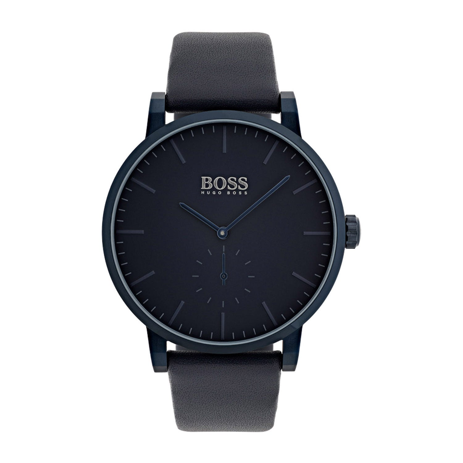 Hugo Boss Essence Classic Black Dial Navy Leather Strap Men's Watch