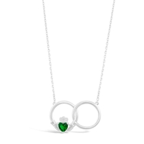 Celtic Claddagh Sterling Silver & Green Cubic Zirconia Interlocking Necklet