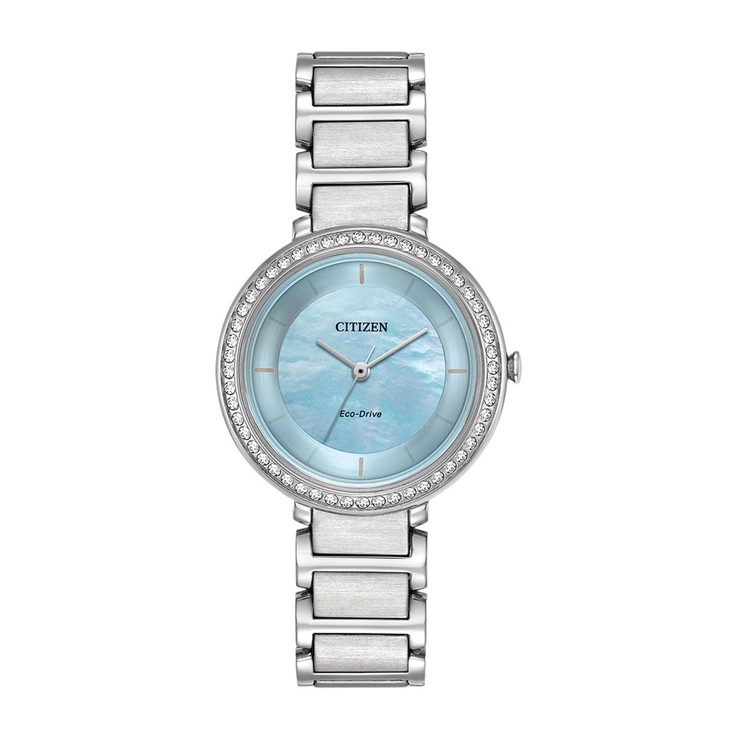 Citizen Eco-Drive  Mother of Pearl Dial Crystal Bezel Ladies Bracelet Watch
