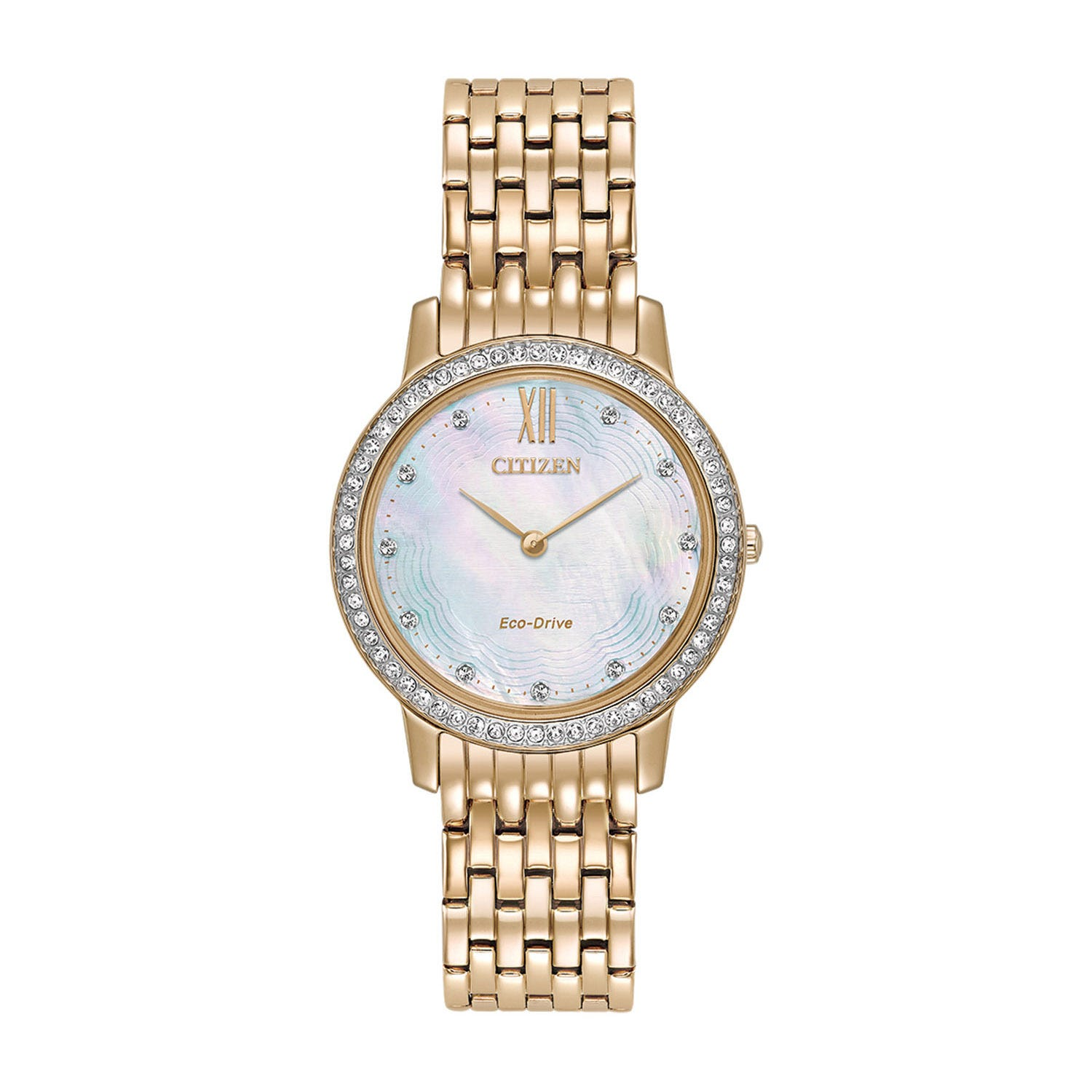 Citizen Eco-Drive  Mother of Pearl Crystal Dial Ladies Bracelet Watch