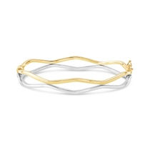 9ct Yellow and White Gold Open Diamond Shape Bangle