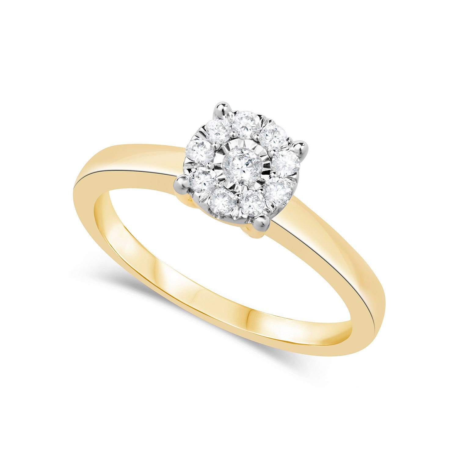 9ct Gold .22ct Round Cut Cluster Diamond Engagement Ring