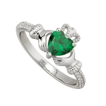 Sterling Silver Claddagh Birthstone May Cubic Zirconia Shoulder Set Ring