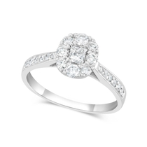 18ct White Gold Princess Cut Centre with Halo 0.65 Carat Diamond Engagement Ring