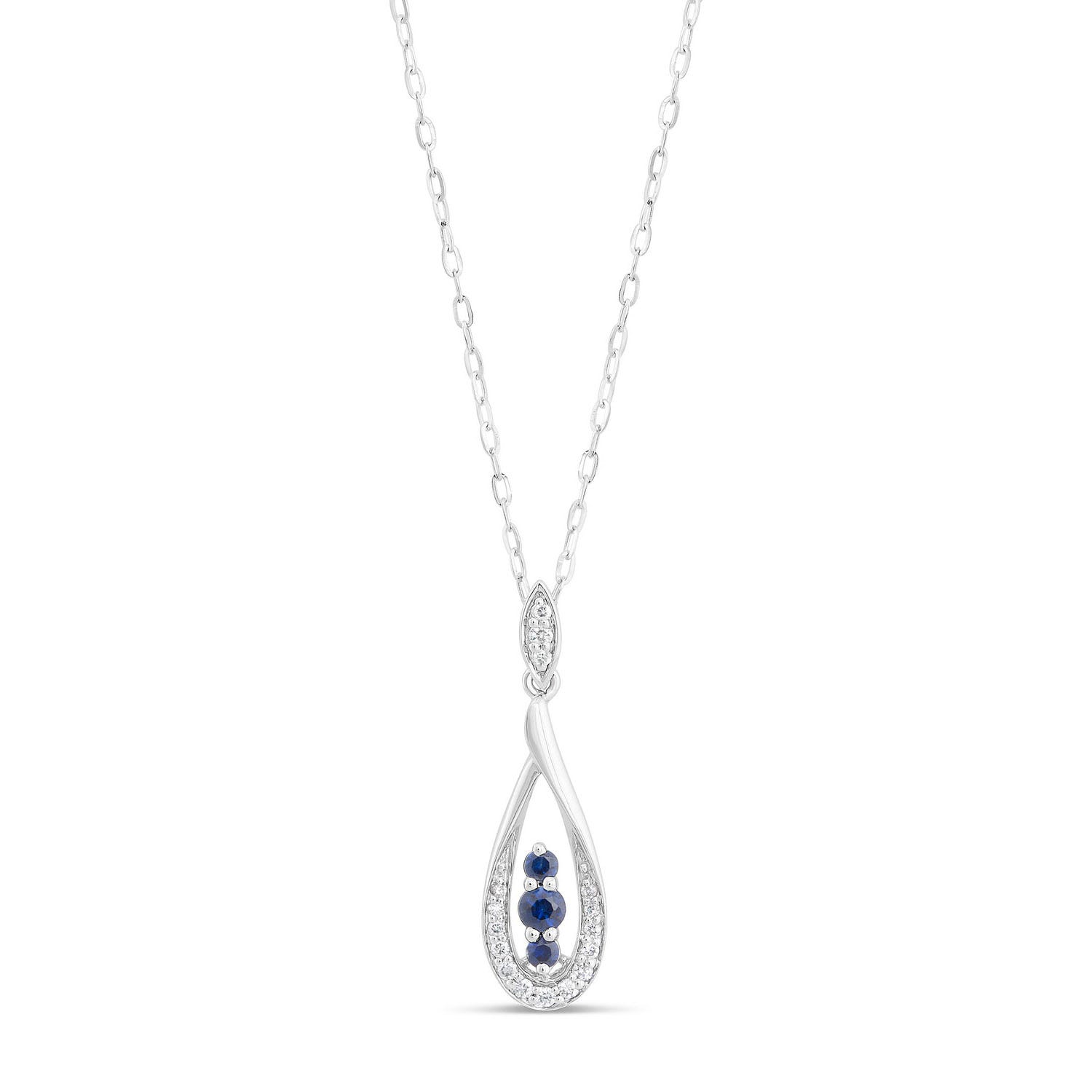 Ladies 9ct White Gold with Sapphire and .10ct Diamond Tear Drop Necklace