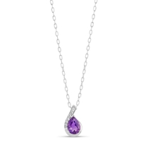 Ladies 9ct White Gold Amethyst and Diamond .05ct Necklace