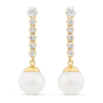 Ladies 9ct Gold Pearl Drop Earrings with Cubic Zirconia