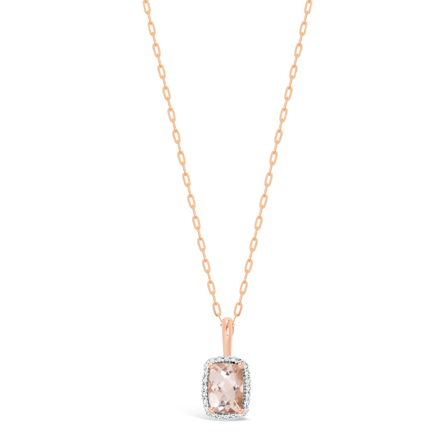 Ladies 9ct Rose Gold Rectangular Morganite 0.07 Carat Diamond Halo Pendant Necklace