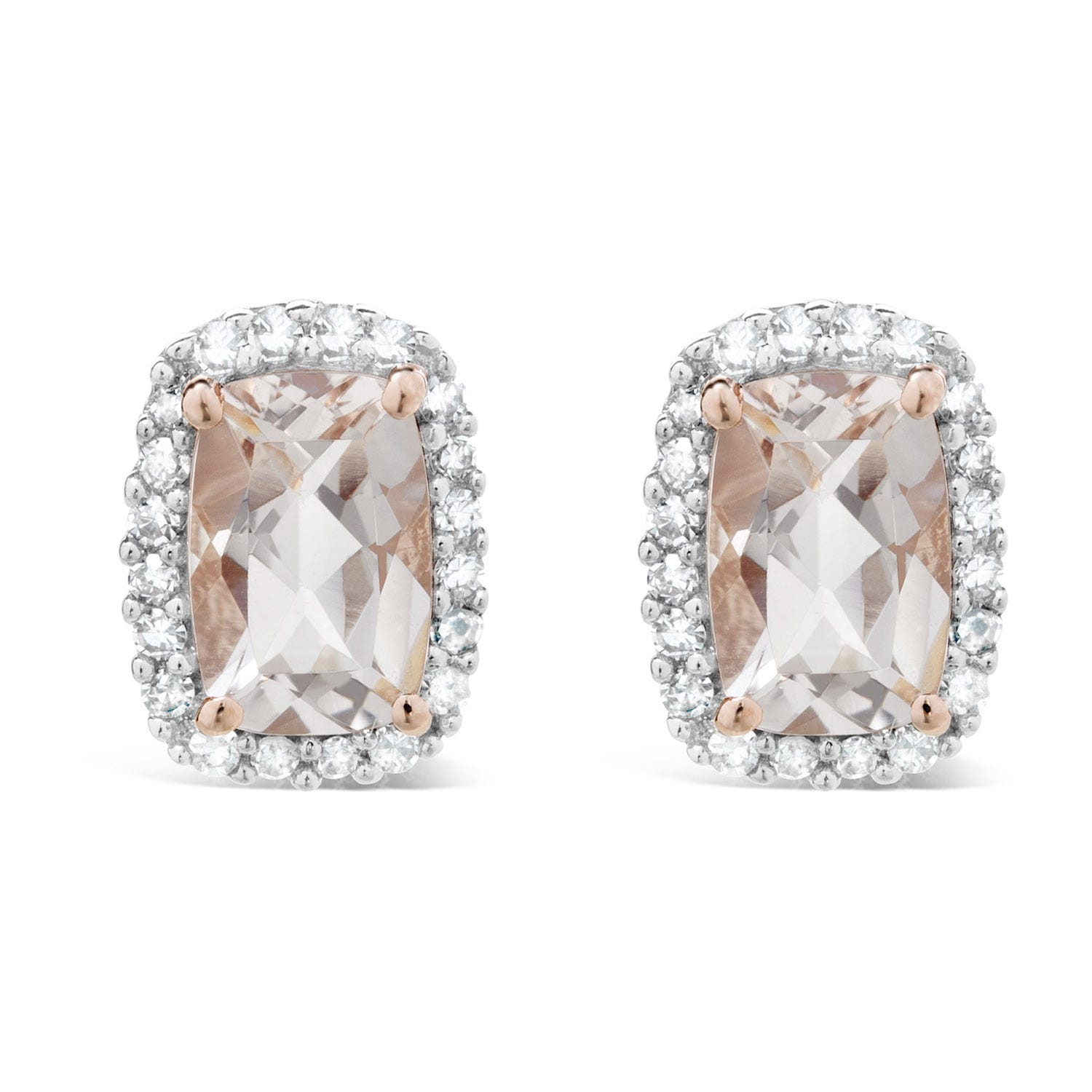 Ladies 9ct Rose Gold Rectangular Morganite 0.13 Carat Diamond Halo Stud Earrings