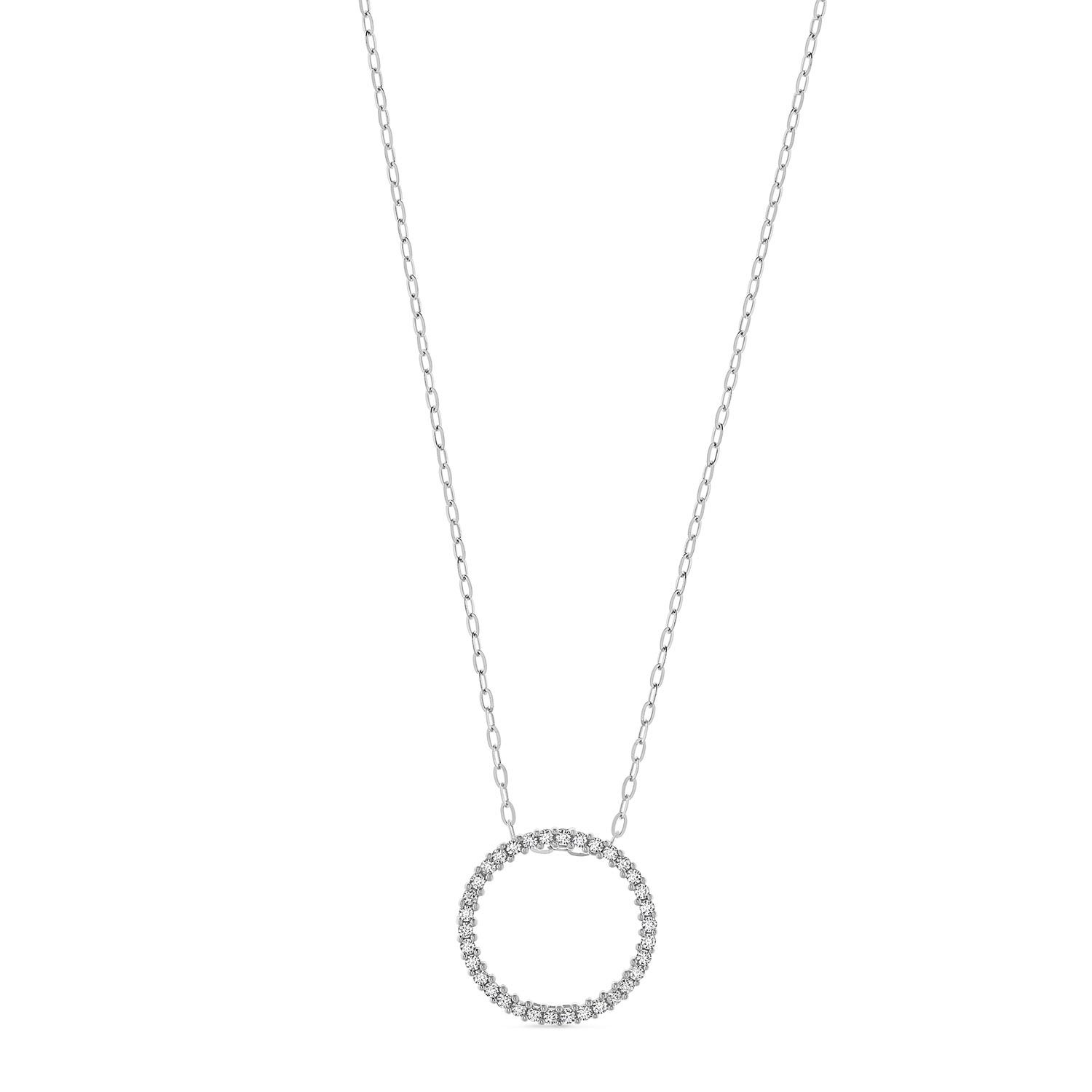 9ct White Gold Cubic Zirconia Open Circle Pendant