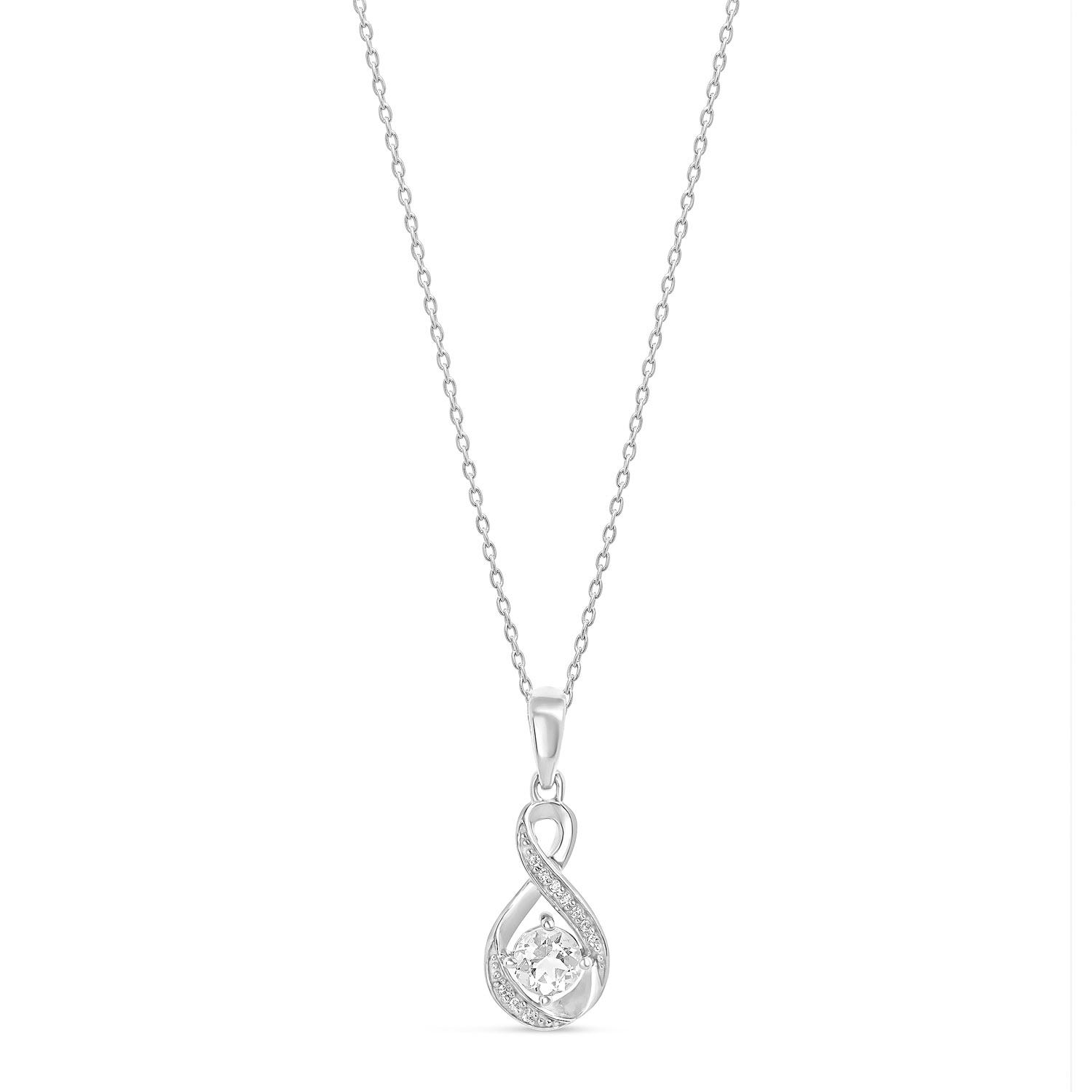 Sterling Silver and Cubic Zirconia April Birthstone Pendant