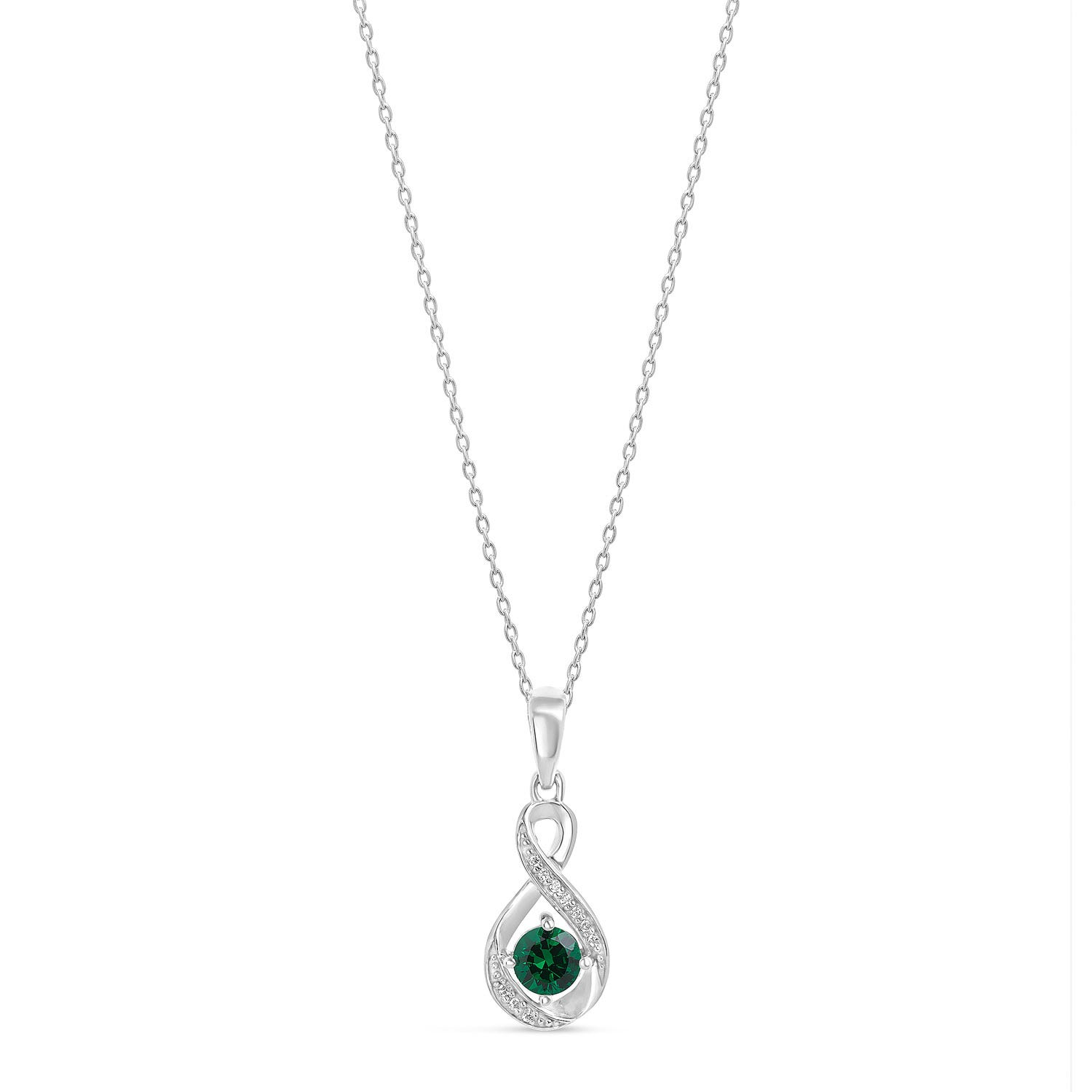 Sterling Silver and Cubic Zirconia May Birthstone Pendant