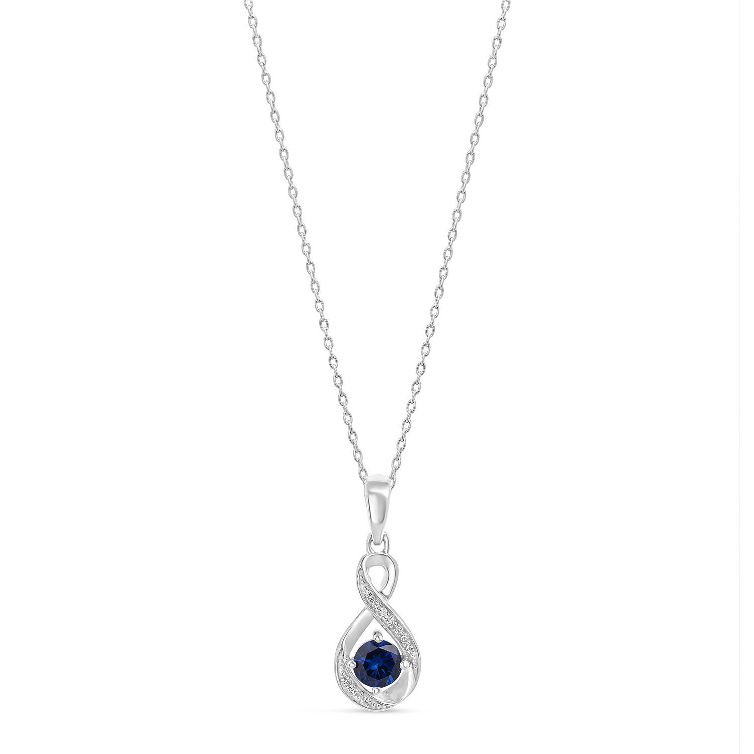 Sterling Silver and Cubic Zirconia September Birthstone Pendant