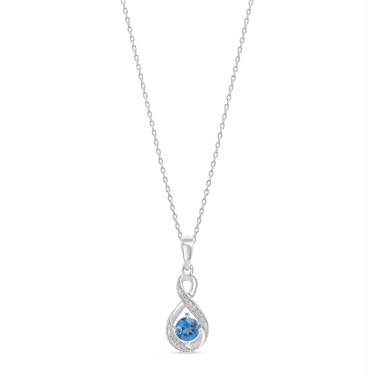Sterling Silver and Cubic Zirconia December Birthstone Pendant
