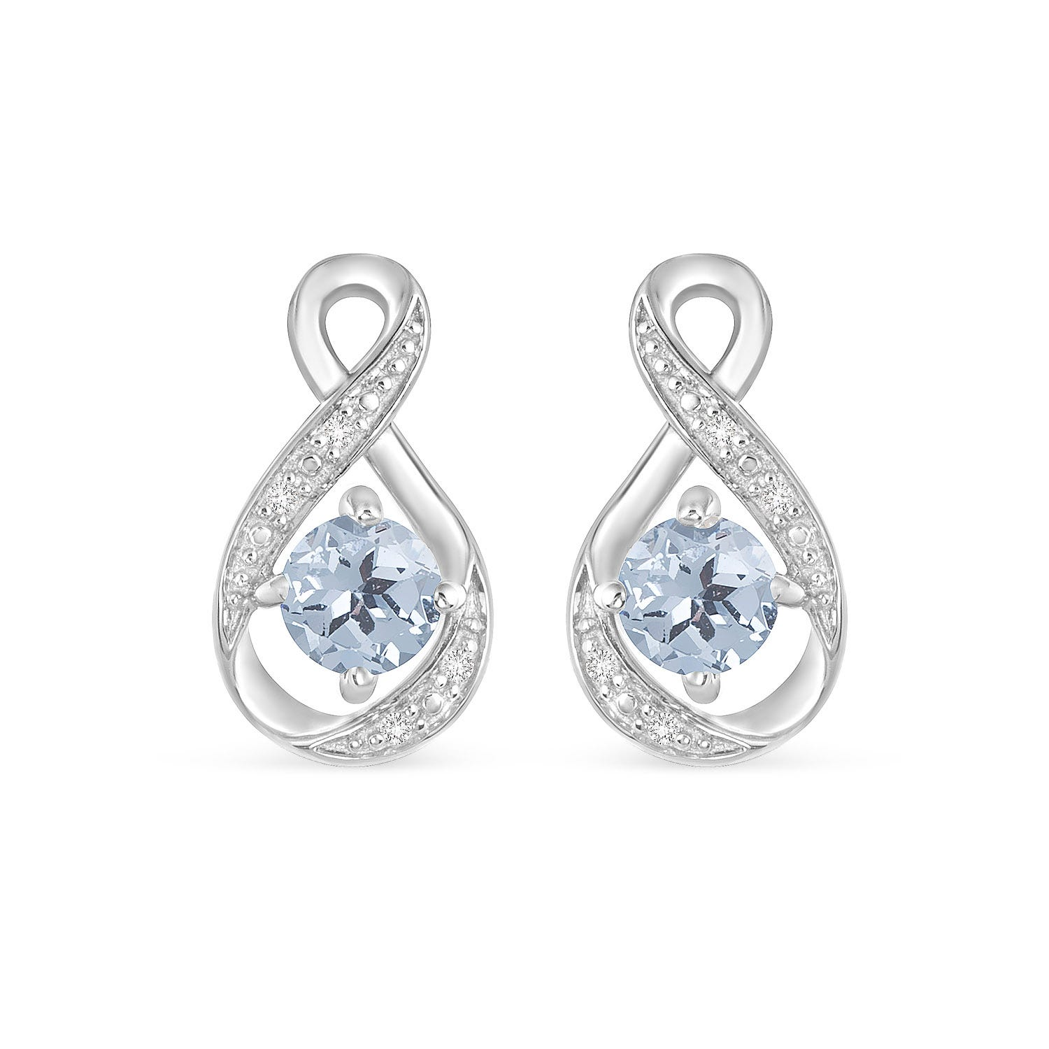 Sterling Silver and Cubic Zirconia March Birthstone Stud Earrings